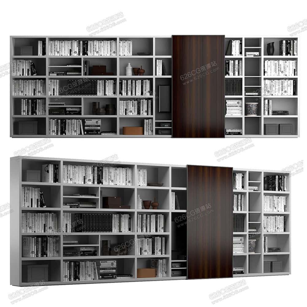 三维模型:现代超大书柜墙储物柜高质量收纳柜书橱 626CG资源站