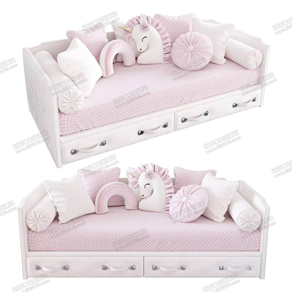 三维模型:可爱卡通单人沙发床双人沙发独角兽沙发配饰抱枕装饰品 626CG资源站