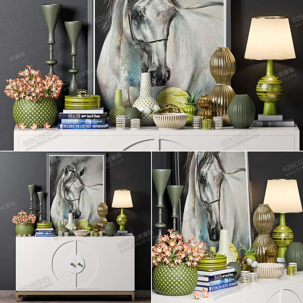 三维模型:客厅置物柜艺术品摆件台灯挂画书本花艺花瓶装饰品 626CG资源站