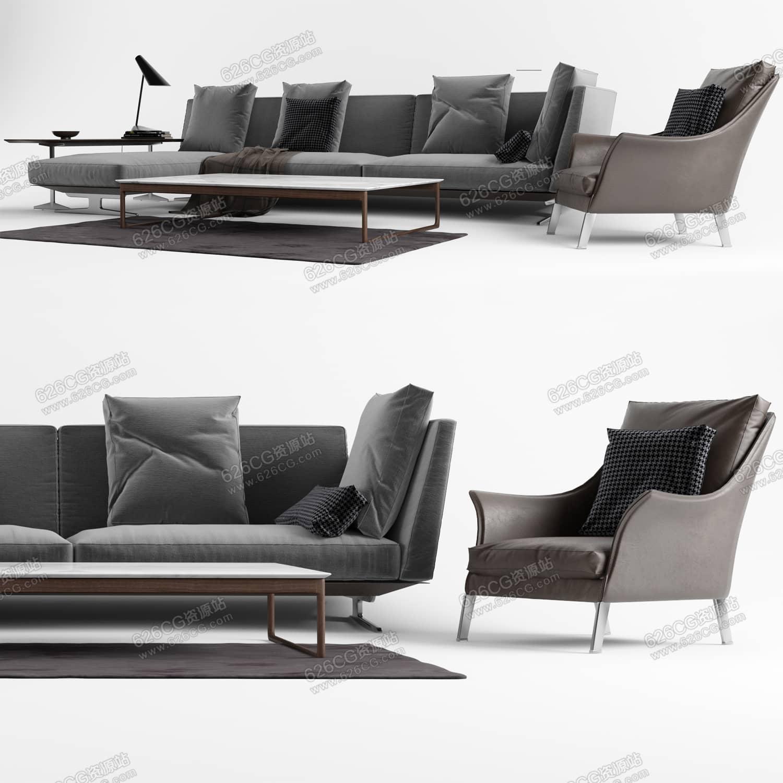 三维模型:简约风格客厅沙发茶几组合北欧风格台灯客厅装饰单人沙发多人沙发 626CG资源站