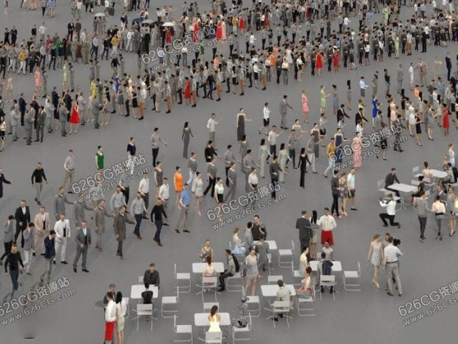 三维模型:低多边形3D人群 走路人群 低模人群 坐姿人群 餐厅公园人群 626CG资源站