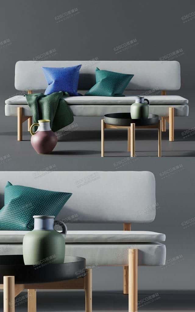 三维模型:北欧简约原木风格沙发茶几组合客厅装饰摆件 626CG资源站