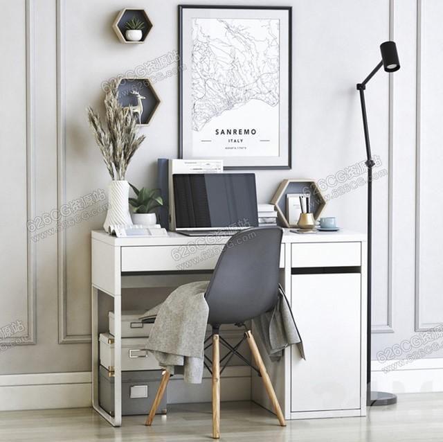 三维模型:家庭小型办公桌椅书房书桌挂画台灯摆件装饰品 626CG资源站