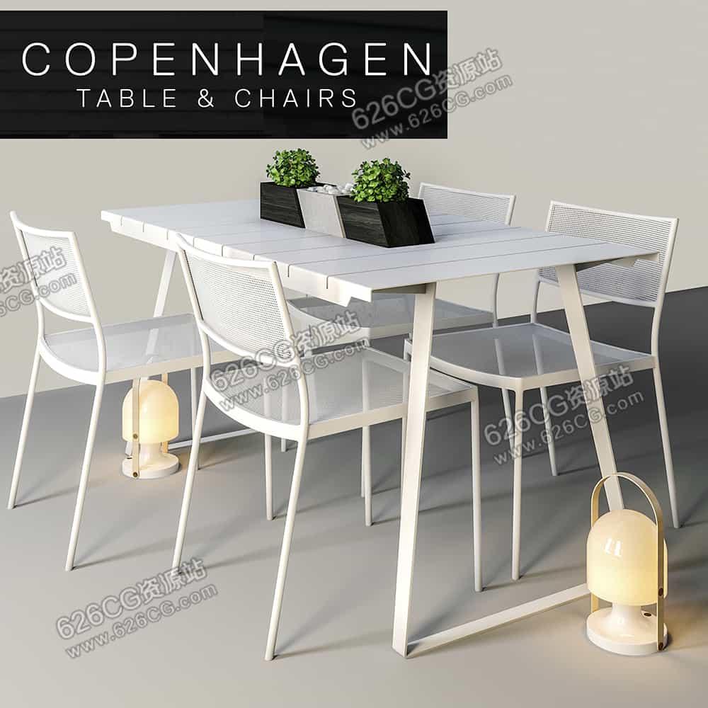 三维模型:家居软装白色小清新餐桌餐椅桌椅组合 626CG资源站