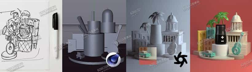 C4D教程: 3D广告电商风格场景视频静物场景建模渲染教程 中文字幕 626CG资源站