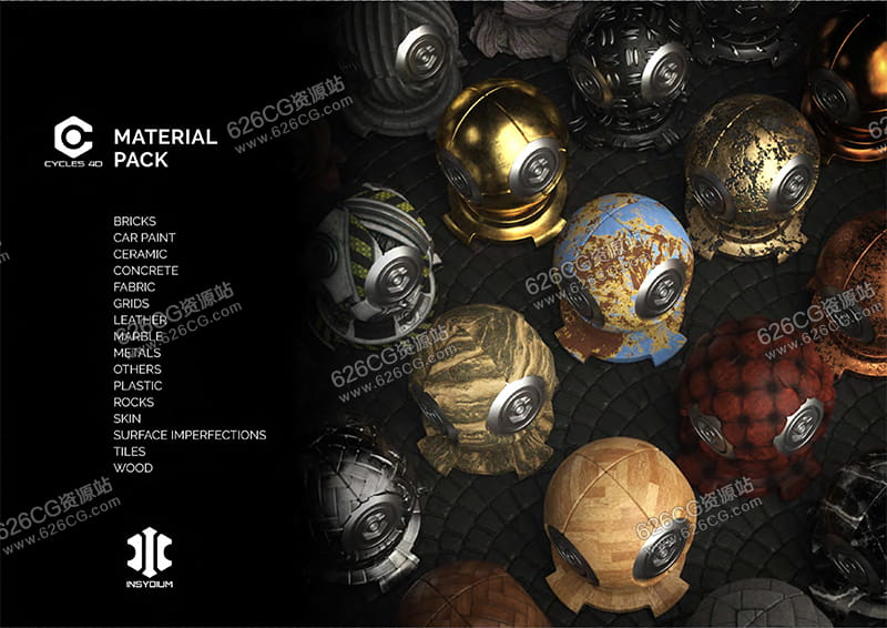 INSYDIUM Cycles 4D Material Pack Cycles 4D 材质包 626CG资源站